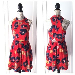 ANTHROPOLOGIE Harlyn Red Silk Floral Dress